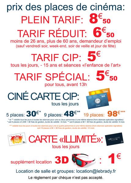 Les tarifs du Cinéma et Théâtre Le Brady  Cinéma Paris - Le Brady